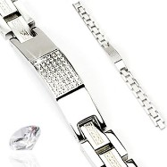 316L Stainless Steel CZ Stones Tag with Aztec Link Bracelet