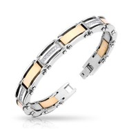 316L Stainless Steel IP Coffee with CZ Stones Inlayed Bracelet
