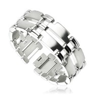 316L Stainless Steel Duo Band Mirrored T Links Bracelet
