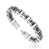316L Stainless Steel Linked Bracelet with Rubber Double Strip