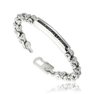 316L Stainless Steel Black Gem Inlayed Bracelet with Bicycle Links