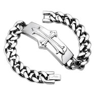 316L Stainless Steel Chain Bracelet with Medieval Cross Rectangle
