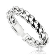 316L Stainless Steel Chain Bracelet With Wave Design On The Side