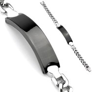 316L Stainless Steel Chain Bracelet With Black Engraving Plate
