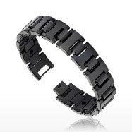 Tungsten Carbide IP Black Bio-Magnetic Wide Bracelet