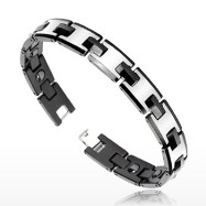 Tungsten Carbide IP Black Duo Tone Bio-Magnetic Bracelet