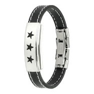 316L Stainless Steel Triple Stars ID Plate Stitch Accent Rubber Bracelet