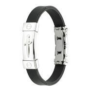 316L Stainless Steel Pirate's Dagger ID Plate Rubber Bracelet