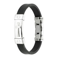 316L Stainless Steel Cross ID Plate Rubber Bracelet