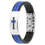 316L Stainless Steel Medieval Cross ID Plate 2-Tone Maze Rubber Bracelet