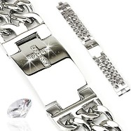 316L Stainless Steel Bracelet with Gem Paved Cross Plate & Double Chains On Each Side