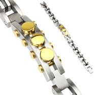 316L Stainless Steel Bracelet with IP Black Links & Gold Bolts