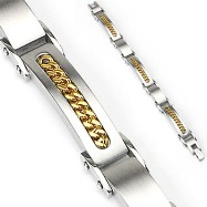 316L Stainless Steel Cuban Link Inlayed Bracelet