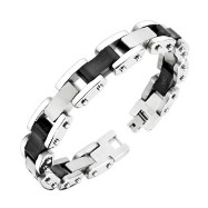 316L Stainless Steel Bracelet With Rubber And Stainless Steel Links