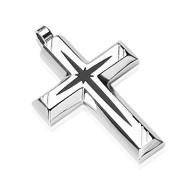 316L Stainless Steel with Black PVD Star Centered Cross Pendant
