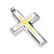 316L Stainless Steel PVD Gold Star Centered Cross Pendant