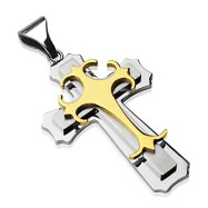 Stainless Steel Double Cross w/ Gold Gothic Top Cross Pendant