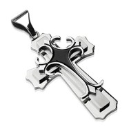 Stainless Steel Double Cross w/ Black Epoxy Gothic Top Cross Pendant