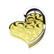 "Stainless Steel PVD Gold ""3-D"" Moon Engraved Heart Pendant"