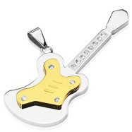 316L Stainless Steel with PVD Gold /Gem Paved Large Guitar Pendant