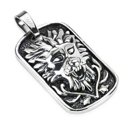 Stainless Steel Medieval Lion Design Casted Dog Tag Pendant