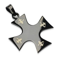 316L Surgical Steel Black Plated Celtic Cross W/Tribal Inlay Pendant