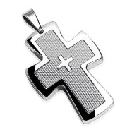 316L Stainless Steel Cross Pendant with Smaller Cross in Middle on Silver Carbon Fiber Background