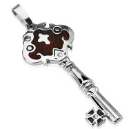 316L Stainless Steel Dark Wood Trim Key Pendant with Steel Cross & 1 CZ Gem on Key Plate