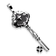 316L Stainless Steel Key Pendant with Steel Cross & 1 CZ Gem on Key Plate