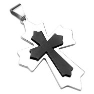 X-Large Stainless Steel Black IP Cross within a Gothic Cross Pendant