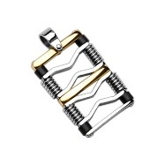 316L Stainless Steel Gold and Black Square Pendant