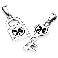 316L Stainless Steel 4 Leaf Lock and Key Pendant Set