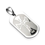 316L Surgical Steel Flam'in Cross Engraved Pendant