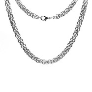 "22"" Inch 316L Stainless Steel 6mm Double Round Link Necklace Chain"