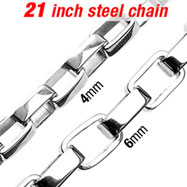 "21"" 316L Stainless Steel Box Necklace Chain w/ Box Links"