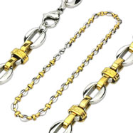 316L Stainless Steel Duo-Tone Tribal Maze Bean Chain Necklace