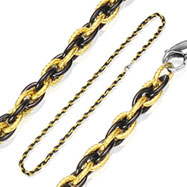 316L Stainless Steel IP Black and Gold Tri-Link Chain