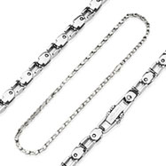 316L Stainless Steel Bicycle Chain Style Necklace with Square Links