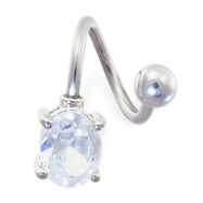 Twister barbell with oval gem, 14 ga