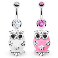 Jeweled belly ring dangling white owl