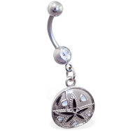 Belly ring with dangling flower shell