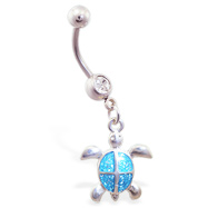 Belly ring with dangling aqua glitter turtle