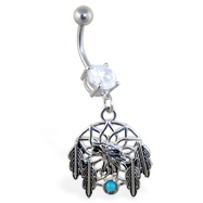 Navel ring with dangling dream catcher and feathers