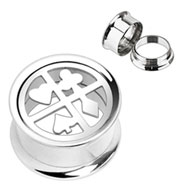 Pair Of Steel Poker Suit Plate Top Screw-Fit Tunnels