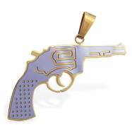 Stainless steel hand gun pendant with gold colored accents