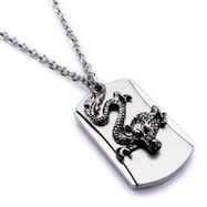 Alloy necklace with dragon dog tag pendant