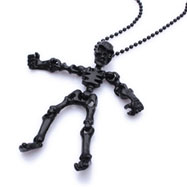 Black alloy bead necklace with skeleton pendant