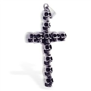 Large multi-skull cross pendant