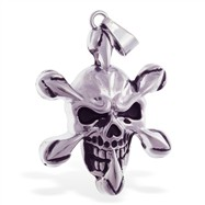Silver alloy skull and crossbones pendant