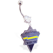 Belly Ring with official licensed NFL charm, San Diego Chargers
